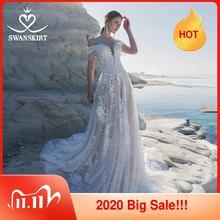 Cariño 3D Vestido de novia flores Swanskirt apliques de hombro una línea de encaje princesa Vestido de novia de LZ22