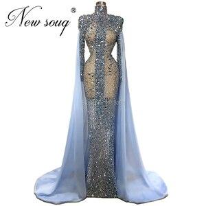 Image 3 - Custom Sheer Blue Beading Prom Dress Abendkleider Mermaid Long Evening Dresses Women Dubai Gown Formal Islamic Kaftans 2020 New