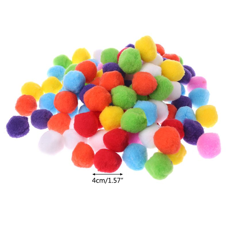 100Pcs Soft Round Fluffy Craft PomPoms Ball Mixed Color Pom Poms 40mm DIY Crafts DIY