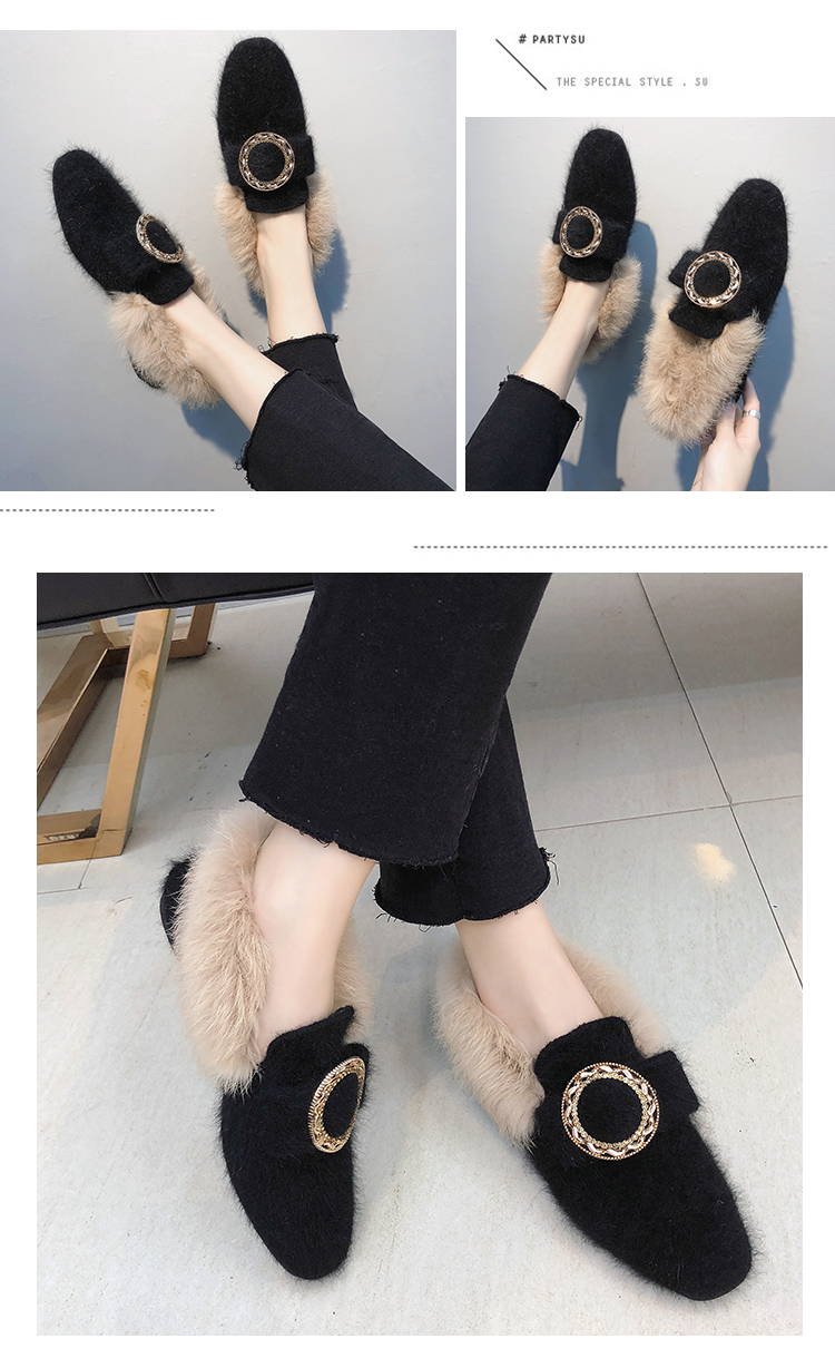 All-Match Shoes Woman 2019 Dress Flats Women Shallow Mouth Loafers Fur Modis Women's Moccasins Round Toe Casual Female Sneakers 44