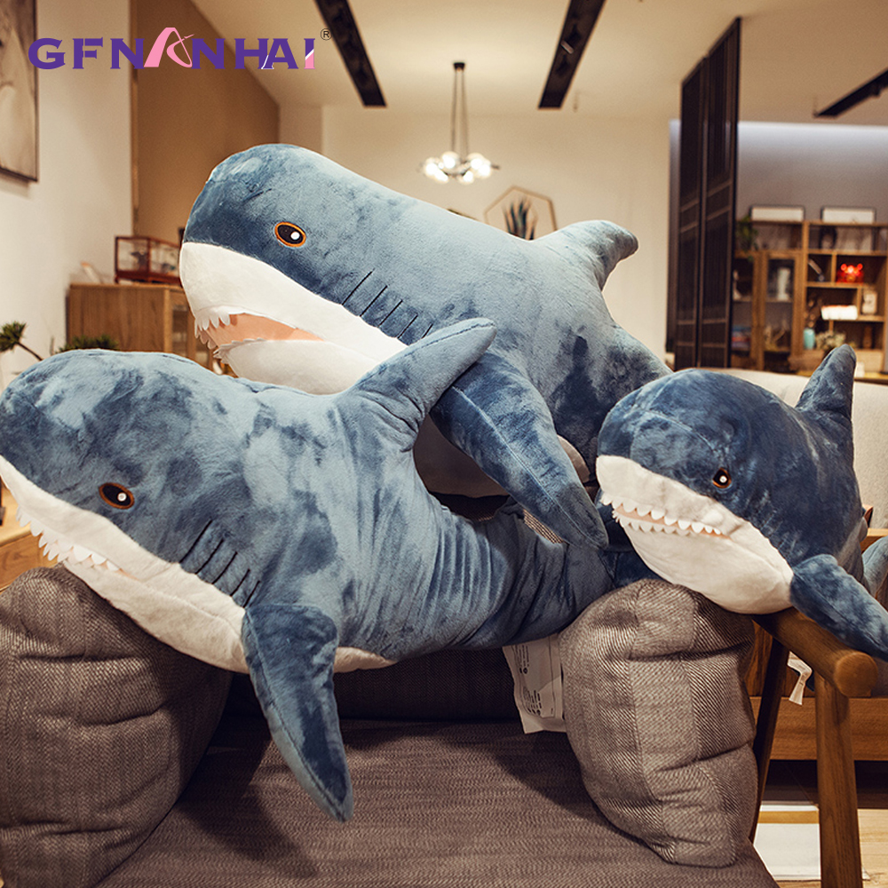 100/140CM Giant Size Plush Shark Skin Toys High Quality Semi-finished Product Simulation Shark Coat Pillow For Children Gifts