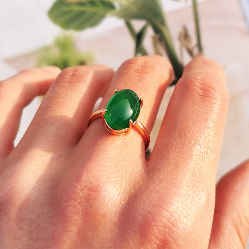 Jadery Luxury Rose Gold Silver 925 Ring Vintage Natural Green Jade Gemstone Rings For Women Wedding Sterling Silver Jewelry Gift