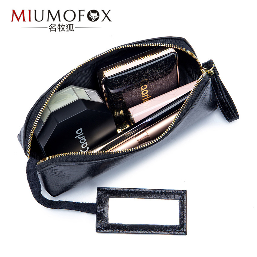 Genuine Leather Travel Cosmetic Bag Women Makeup Bags Organizer Bags Female Make Up Bag Ladies Toiletry Bag Clutch Beauty Box