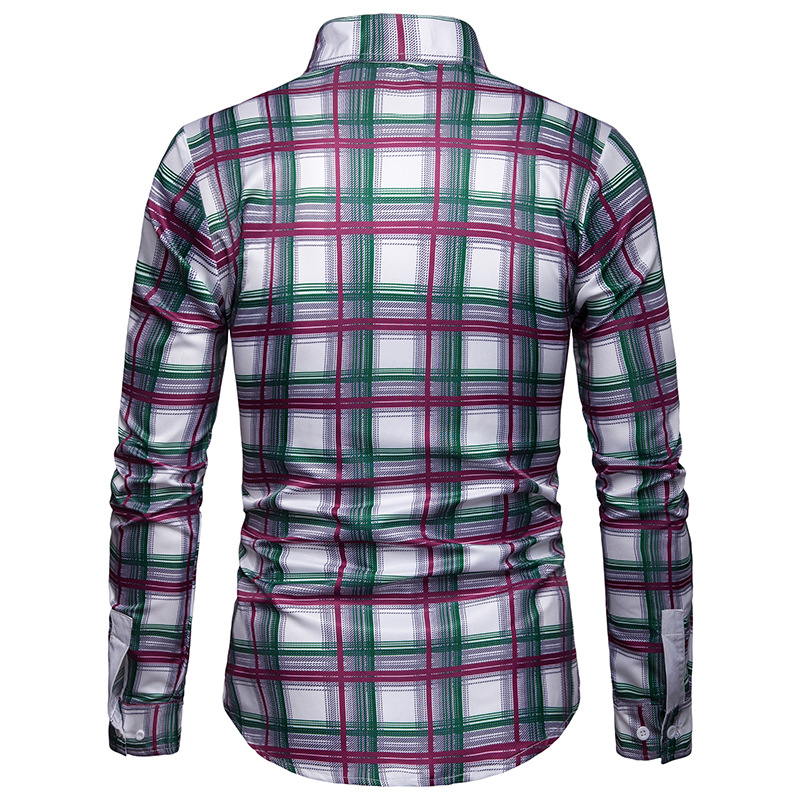 2020 new arrival colorful plaid shirts men dress good quality long sleeve camisa social masculina 3