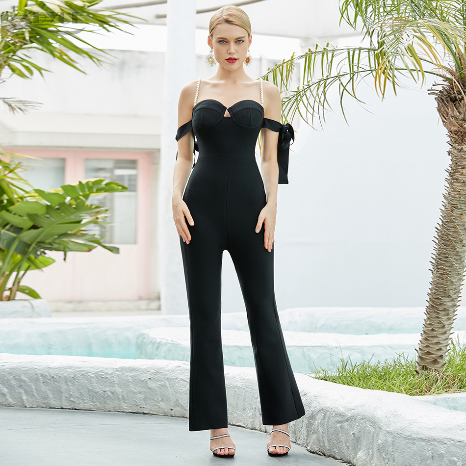 ADYCE Sexy Off Shoulder Bow Women Bodycon Bandage Jumpsuit Elegant Black Solid Short Sleeve Casual Bodysuit Lady Long Jumpsuit