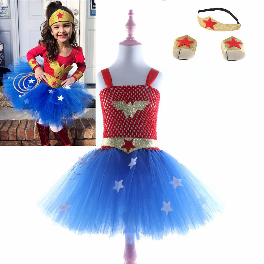 Children's Hero tutu Dress Purim Baby Girls Birthday Party Clothes Superhero Girl Cosplay Costume for Kids Cute Princess Dresses