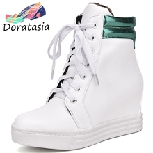 DORATASIA New 33-43 Brand Design Height Increasing Booties Ladies Fashion Platform Ankle Boots Women 2019 High Shoes Woman