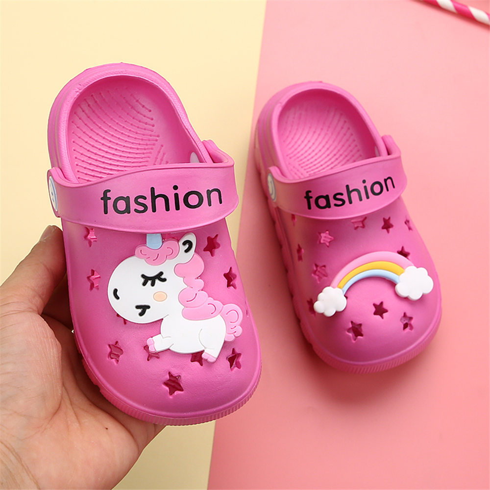 Image 3 - Unicorn Slippers for Boy Girl Rainbow Shoes 2019 Summer Toddler Animal Kids Outdoor Baby Slippers PVC Cartoon Kids SlippersSlippers   -