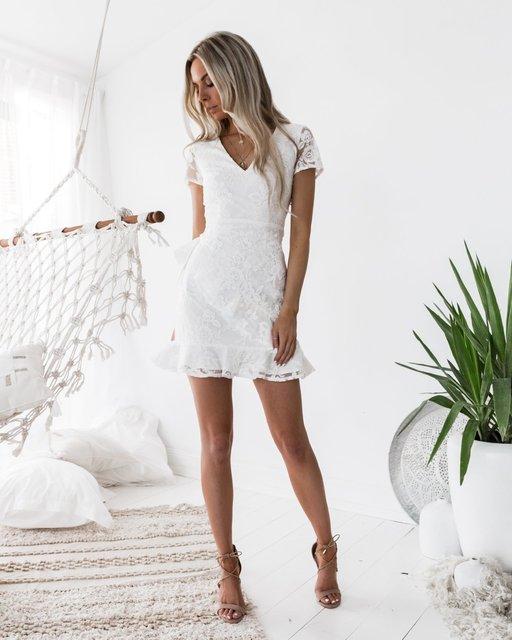 BacklakeGirls 2020 White Embroidery Lace Woman Cocktail Dress Elbise Short Formal Dresses Vestidos De Coctel 1