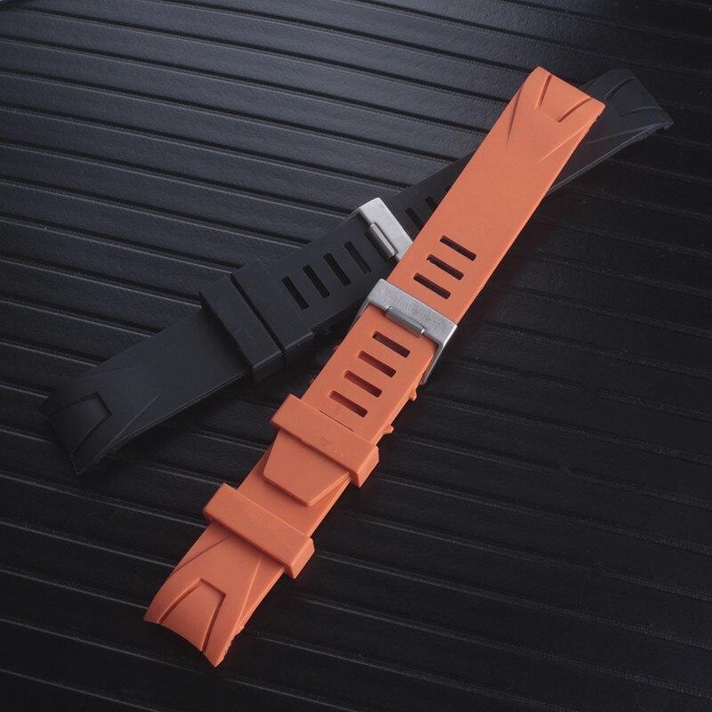 Watchband 20mm 22mm Black Orange Silicone Rubber Watch Strap Bands Waterproof Watchband Belt Accessories