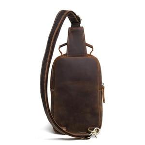 Image 2 - GO szczęście marki szalony koń prawdziwej skóry na co dzień torba typu Sling na klatkę piersiową mężczyzn torba na ramię Crossbody męska skóra bydlęca Messenger torby