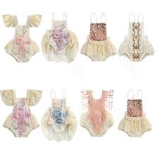 0-24M Sommer Prinzessin Neugeborenen Baby Mädchen Elegante Spitze Häkeln Pailletten Sleeveless Spielanzug Jumspuits Tüll Kleid Outfits 7 stile