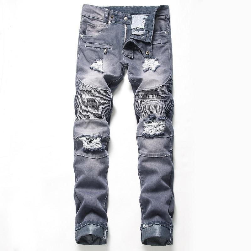 Men's Nostalgic Hole-Breaking Locomotive Jeans Straight Trousers Male Distressed Denim Pants Biker Jeans Luxury Men Clothing
