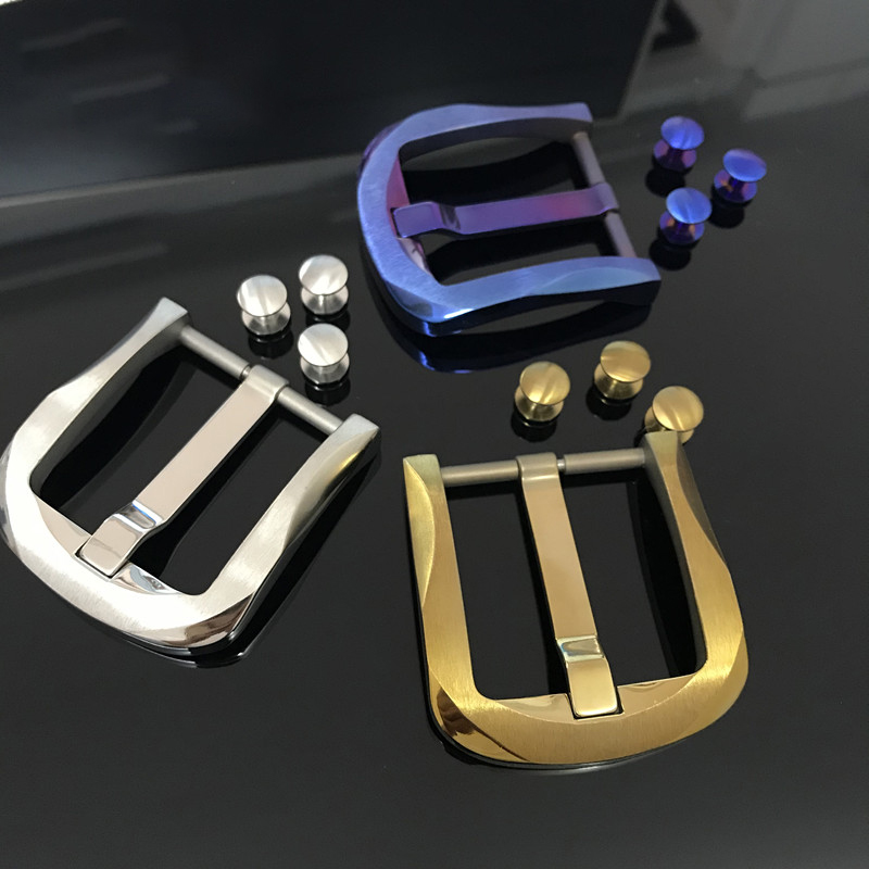 40mm Pure Titanium Pin Belt Buckle For 38-39mm Men's Belt DIY Leather Accessories