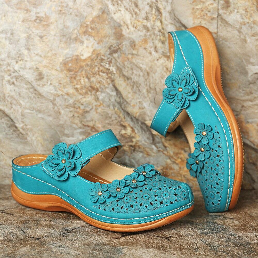 Sfit Women's Sandals Summer Handmade Ladies Shoes Leather Floral  Sandals Women Flats Retro Style Shoes Woman 2020