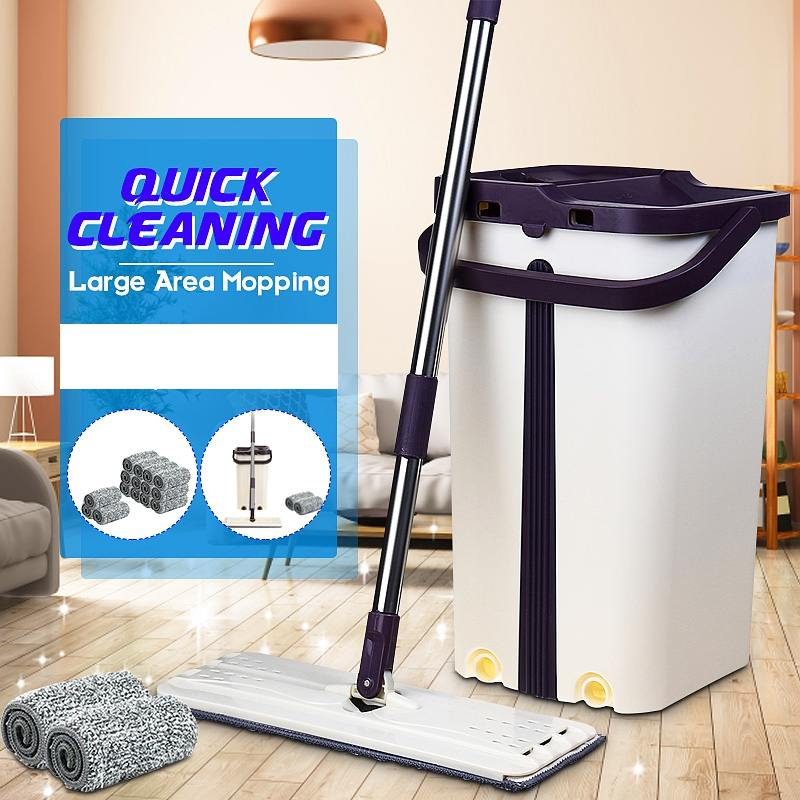 NEW Flat Squeeze Magic Automatic Mop And Bucket Avoid Hand Washing Microfiber Cleaning Cloth Kitchen Wooden Floor Lazy Mop