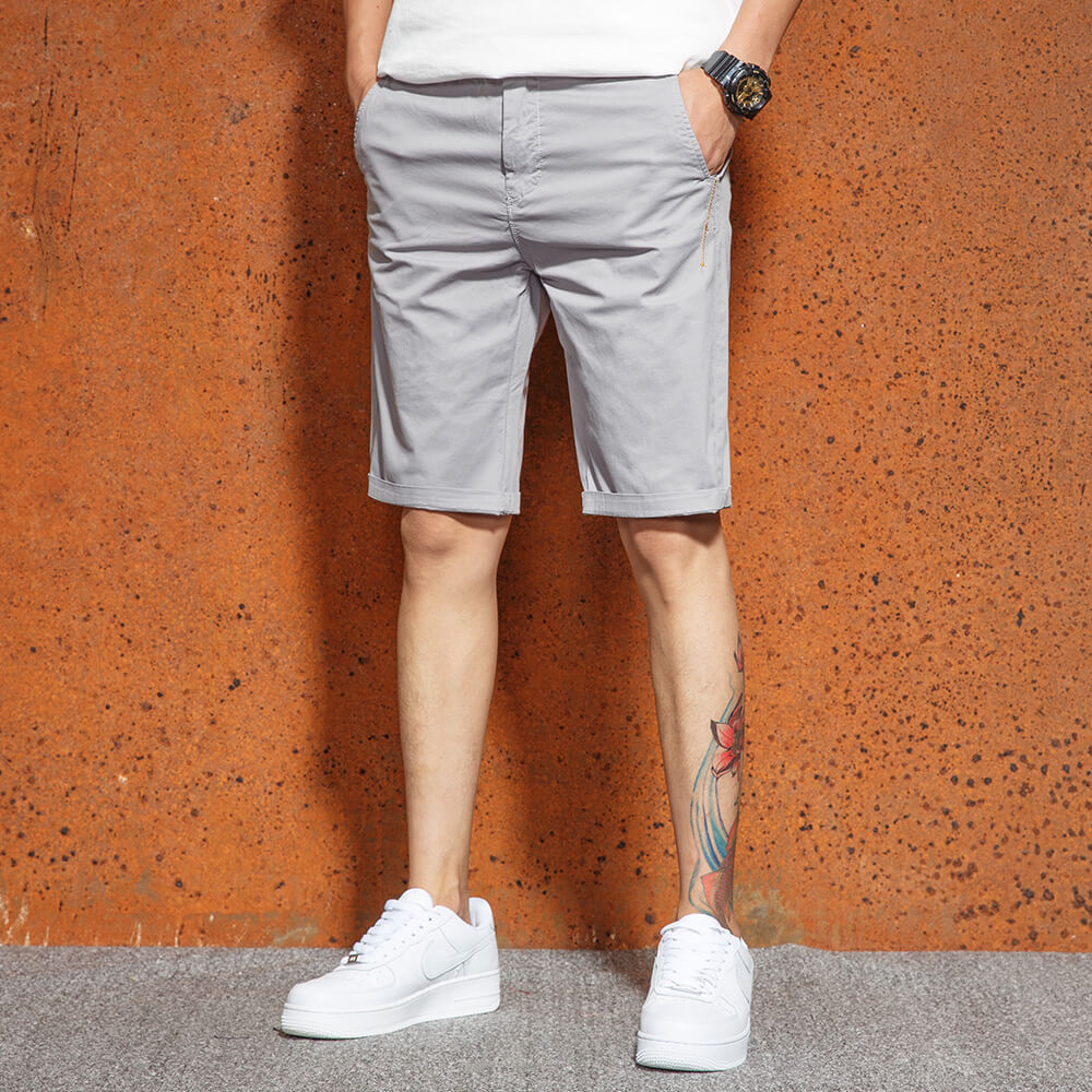 Men 2019 Summer Casual Shorts Solid Color Beach Shorts Summer 5 Shorts Fashion Slim Fit Pure Cotton Breeches