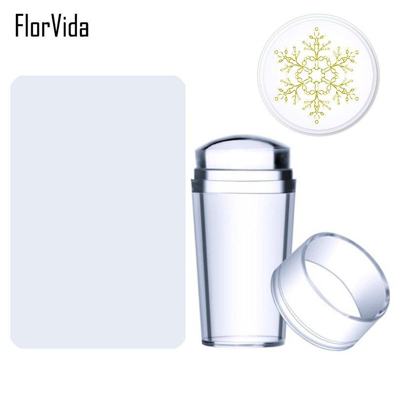 FlorVida Big Limpar Jelly Silicone Kit Batedor com Raspador para Placas de Carimbo Da Arte Do Prego de Transferência Padrão Template Manicure Ferramentas