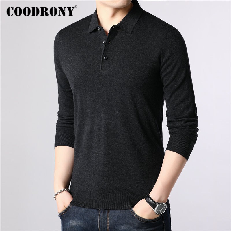 Image 2 - COODRONY Brand Sweater Men Classic Casual Turn down Collar Pull  Homme Cotton Wool Pullover Men Autumn Winter Soft Sweaters  91084Pullovers