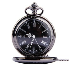Fashion Simple watch Black Retro watch men Double Display necklace Pocket Watch mechanical watch montre homme automatique