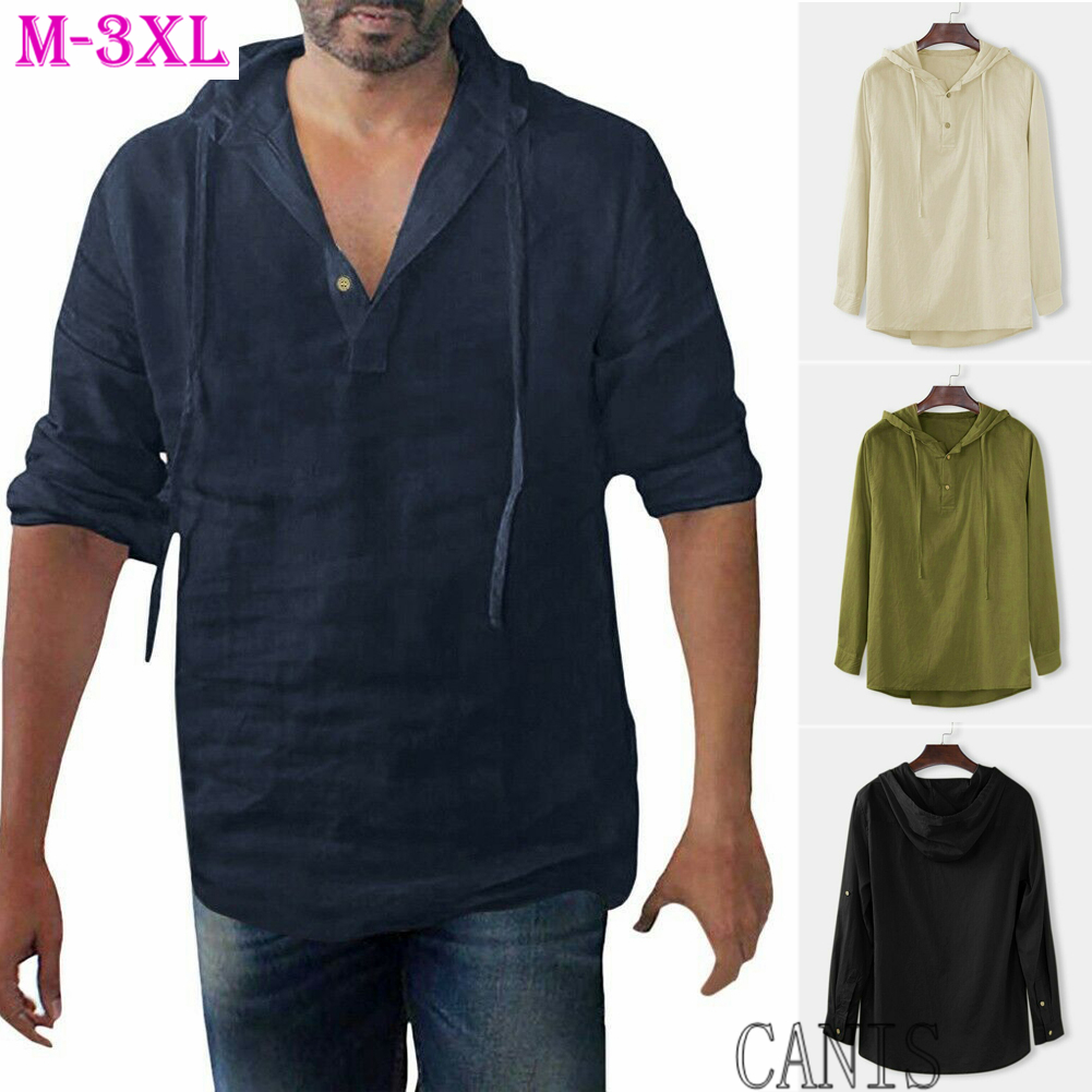 Men Linen Shirts Long Sleeve Shirt Cool Loose Casual V-Neck Drawstring Minimaist undergarments Bottoming Shirts Tops M-3XL