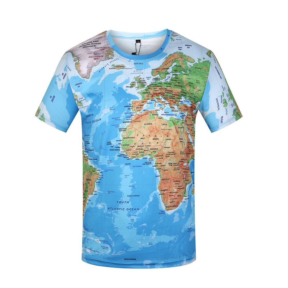 Brand 3D T Shirt Men World Map T-shirt Funny T Shirts Male 2020 Summer Short Sleeve Anime Tops Tee Fashion Mens Clothing