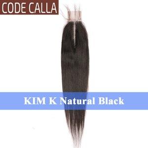 Image 3 - コードオランダカイウストレート 2*6 インチレースサイズキム K 閉鎖、マレーシアの Remy 人毛織りエクステンション自然な黒ダークブラウン色