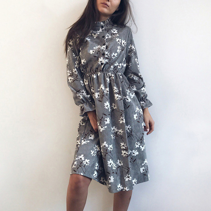 Floral Print Lady Shirt Dress Corduroy Thick Winter Dress Women Autumn Dresses Vintage Casual Long Sleeve Vestidos Female A-line