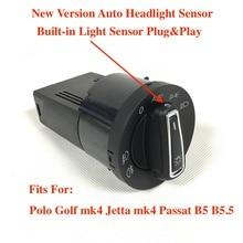 Built in Auto Light Sensor Headlight Switch Leaving Coming Home For VW Polo 9N 6R Golf 4 Jetta MK4 Passat B5 B5.5