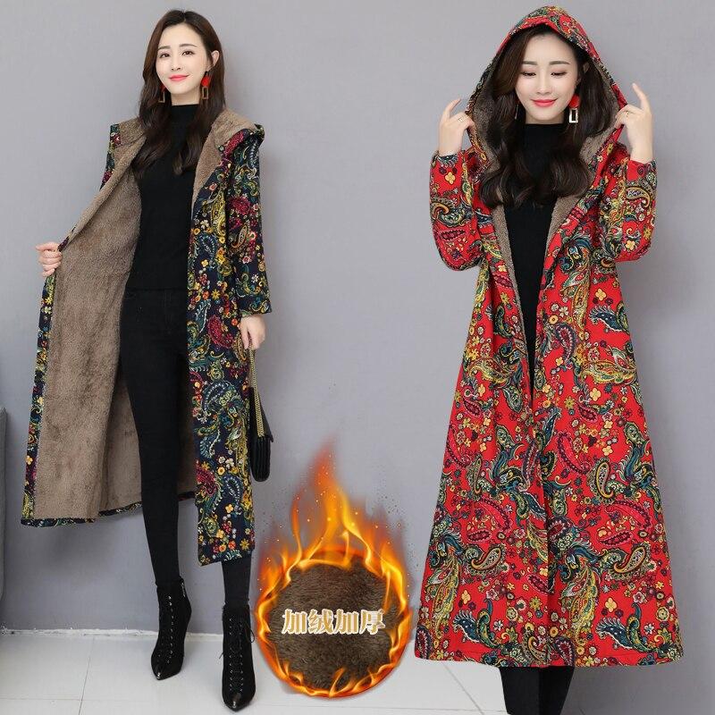Chinese Red Floral Women Winter Long Jacket Vintage Fleece Lining Padded Winter Coat Female Blue Flower Parka Ladies Windbreaker