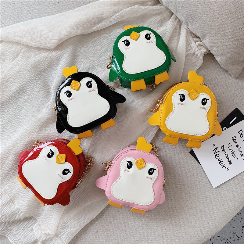 New Casual PU Bag Cartoon Little Penguin Children Shoulder Messenger Bag Toddlers Change Bags Bag Travel Storage  Bags