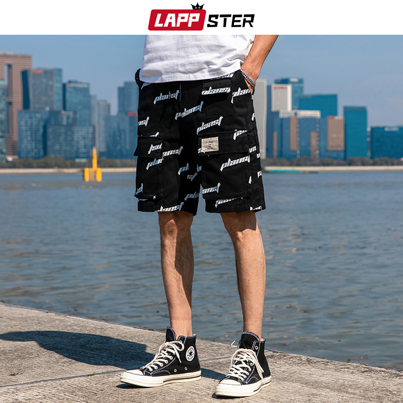 LAPPSTER Men Shorts Letter Print 2020 Summer Cargo Shorts Mens Japanese Streetwear Hip Hop Sweatpants Pockets Sweat Shorts 3XL
