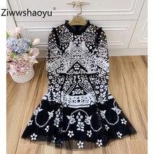 Ziwwshaoyu пикантные Черные Сетчатые вечерние мини-платья с пайетками и вышивкой Женская мода с длинным рукавом осеннее платье высокого класса