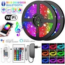 Светодиодная лента с поддержкой Bluetooth, Wi-Fi, 15 м, 5 м, 10 м, RGB 2835/5050 SMD, Диодная, 12 В постоянного тока, гибкая Водонепроницаемая лента для украшения ...