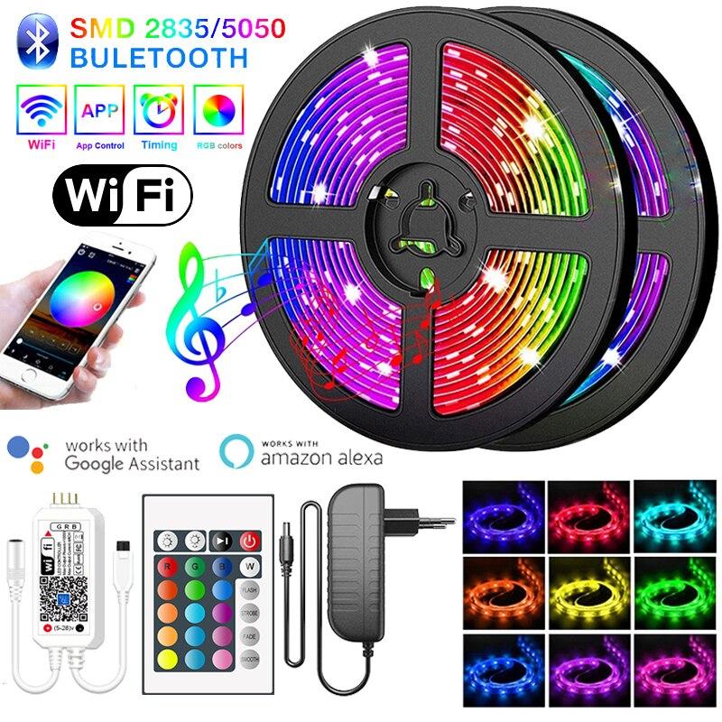 Светодиодная лента SMD2835/5050 с поддержкой Bluetooth, Wi-Fi, водонепроницаемая, 15 м, 5 м, 10 м, RGB Диодная, 12 В постоянного тока, гибкая лента для украшения ...
