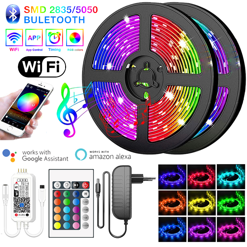 Светодиодная лента SMD2835/5050 с поддержкой Bluetooth, Wi Fi, водонепроницаемая, 15 м, 5 м, 10 м, RGB Диодная, 12 В постоянного тока, гибкая лента для украшения комнаты, светодиодная лента|Светодиодные ленты|   | АлиЭкспресс