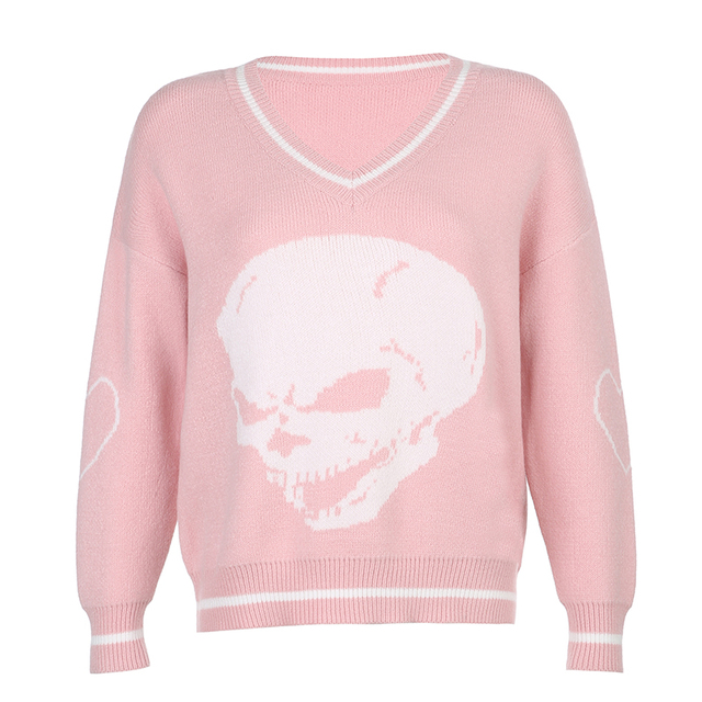 Darlingaga Gothic Skull Print Autumn Winter Woman Sweaters Fashion Loose Y2K Pullover Harajuku Knitted Sweater Ladies Pull Femme 5