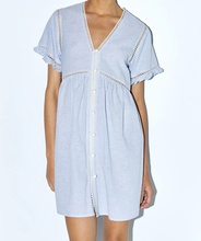Striped Linen Dress with Lace V-Neck  and Short Sleeves Front Button Closure Hollow Out Autumn Mini Dress Women недорого