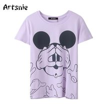 Artsnie mickey mouse cartoon t shirt women summer o neck short sleeve tops femme purple vintage casual disney t-shirts mujer(China)