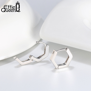 Image 3 - Effie Queen Woman Small Hoop Earring  925 Sterling Silver 12mm with AAAA Zircon Earring Jewelry Party Wedding Gift BE261