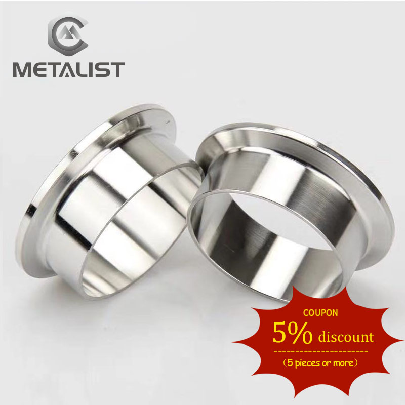 """METALIST High Quality 2.5"""" 57mm 63MM OD 1pc SS304 Stainless Steel Sanitary Pipe Weld 77.5mm Ferrule Tri Clamp Type"""