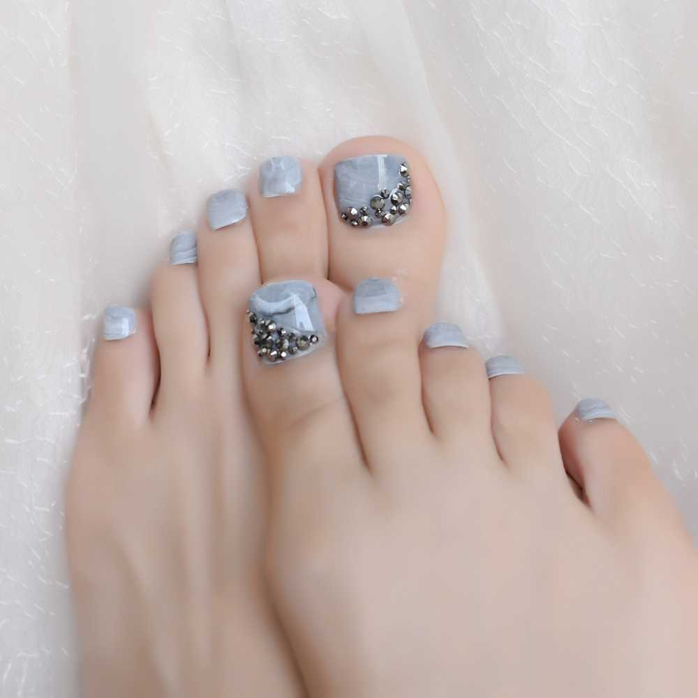 3D Punk Rhinestones Toe Fake Nails Gray Marble Stone Full Nails Art Tips for Lady Girls Toenails Press on Foot False Toe Nails