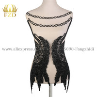 1 Piece Elegant Handmade beads Patches Applique Stone Patches with Gauze for Dress and Evening Dress Dance Clothes
