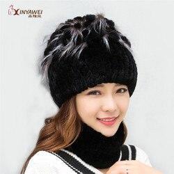 2019 pelz hüte für frauen winter echte Rex kaninchen hut mit blumen stricken weibliche warme schnee caps damen elegante prinzessin hut