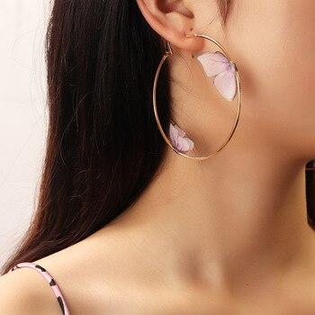 Beautiful Double Butterfly Earrings European Summer Girls Multicolor Big Round Circle Gold Hoop Earrings 11.11 Jewelry For Women 1