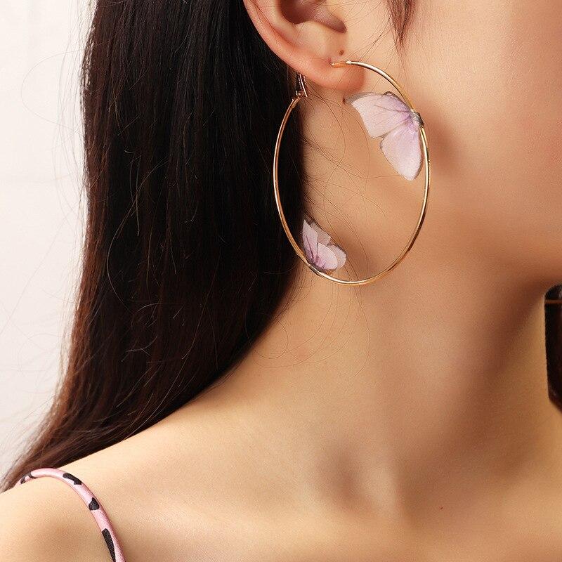 Beautiful Double Butterfly Earrings European Summer Girls Multicolor Big Round Circle Gold Hoop Earrings 11.11 Jewelry For Women