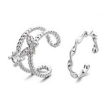 Todorova Frauen Silber Farbe Schmetterling Ohrringe Für Frauen CZ Zirkon Gefälschte Piercing Kleine Mädchen Clip Ohr Manschette Koreanische Earcuff Schmuck