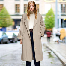 2020 Autumn Women's Single-Breasted Trench Coat Classical Lapel Collar Loose Lon