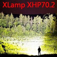 가장 강력한 led 손전등 사용 26650 방수 xhp70.2 3 모드 usb 토치 xhp50 랜턴 18650 사냥 램프 손 빛