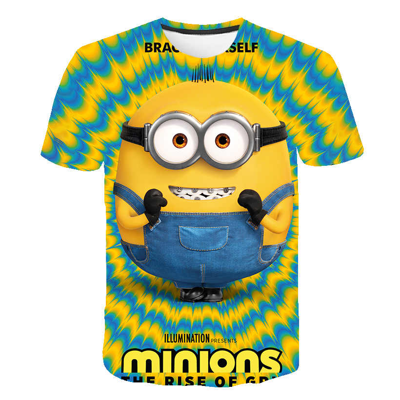 3D Baby Cartoon Print Minions T-shirt Kids Leuke Banaan Jongens Meisjes Kleding T-shirt Zomer O'neck Geel Kleding Dropship 4T-14T